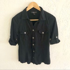 Style & Co. Short Sleeve Button Down Shirt Black S
